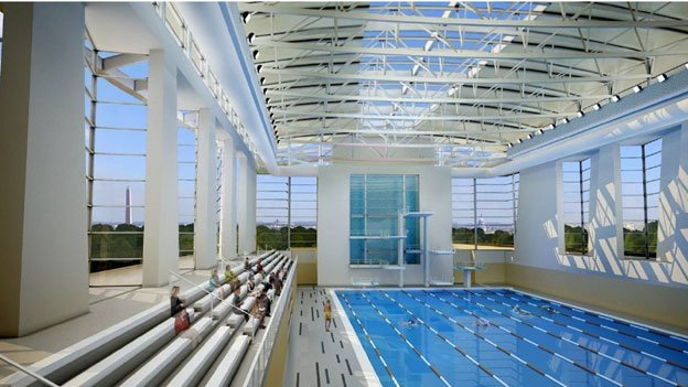 A rendering of the proposed sport and fitness pool at the Long Bridge Aquatics, Health and Fitness Facility.