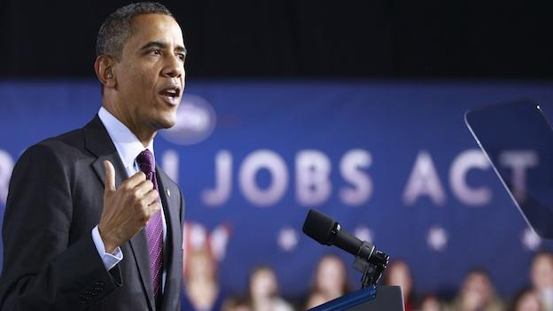 President Barack Obama speaks about jobs, Tuesday, Nov. 22, 2011, at Manchester High School Central in Manchester, N.H.