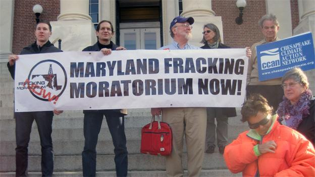 Enviromentalists took to the steps of the state capital to renew their push for a moratorium.