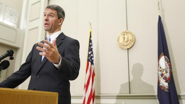 Virginia Attorney General Ken Cuccinelli gestures during a press conference after a hearing before the 4th Circuit Court of Appeals on a challenge to the federal health care reform act.