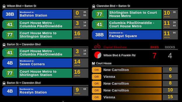 The experimental real-time transit screen at Java Hut in Arlington.