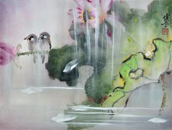Irene Tsai's ink and watercolor paintings feature symbolic Chinese imagery, such as lotus, bamboo, and cranes.