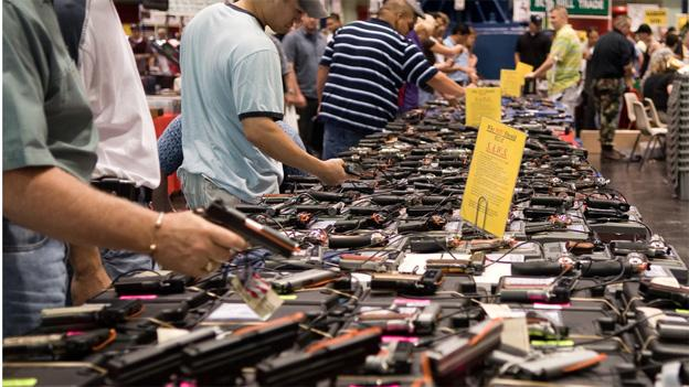 All 31 handguns purchased by Kimberly Dinkins were acquired at state gun shows.