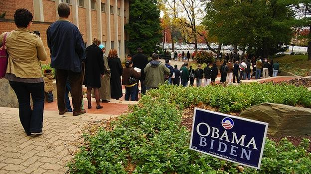 Residents waiting in a long line at a polling station in Silver Spring.