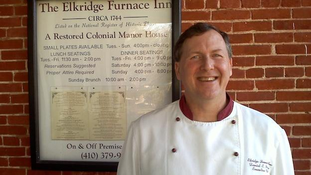 Chef Dan Wecker stands in front of the historic Elkridge Furnace Inn in Elkridge, Md.