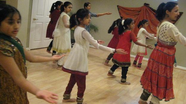 Indian students learn elaborate footwork and spins in Bratati Saha's Kathak dance class.
