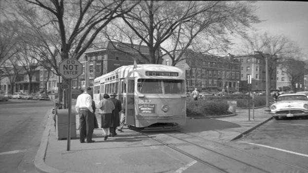 One year before the demise of streetcars, the number 40 boarded passengers at Mount Pleasant and Lamont Sts., NW. Today the 42 bus, like many modern buses, follows the old streetcar route.