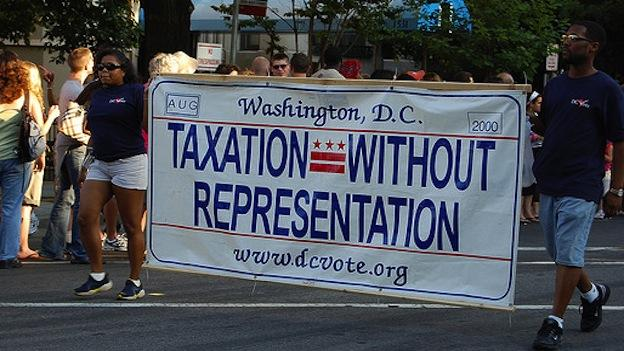 "Washington, D.C.'s license plate design depicts the slogan, ""Taxation Without Representation."""