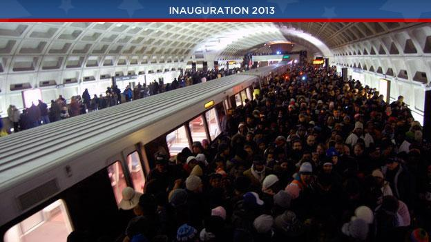 A scene from the L'Enfant Plaza Metro station during President Obama's inauguration in 2009.