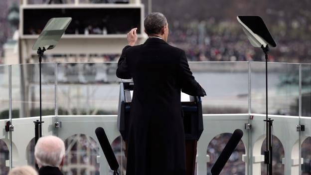 President Barack Obama gestures as he gives his inauguration address during a ceremonial swearing-in ceremony during the 57th Presidential Inauguration.