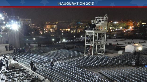 The view of the U.S. Capitol, eight hours before President Barack Obama was sworn in.