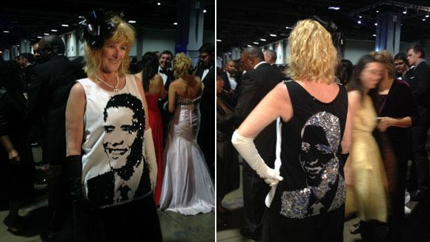 Kelly Jacobs, who came from Mississippi to attend President Obama's inauguration, made her gown for the ball herself.