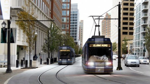 A rendering of proposed Arlington streetcars traveling through Crystal City.