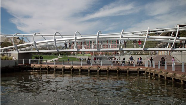 The iconic pedestrian bridge lies in the middle of Yards Park along the Anacostia River in Southeast D.C.