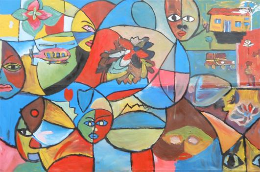 """Environment Concern"" was painted by children at Kidwalime Primary School in Namungona. In Uganda Art Consortium's workshop, the children are encouraged to be environmentally aware by using recycled materials and cleaning up areas where malaria-spreading mosquitoes breed."