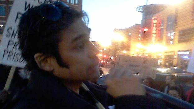 Civil engineer Jai Shankar at protest against D.C.'s immigration policies this week.