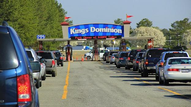 Cars wait in line to get inside Kings Dominion in Virginia.