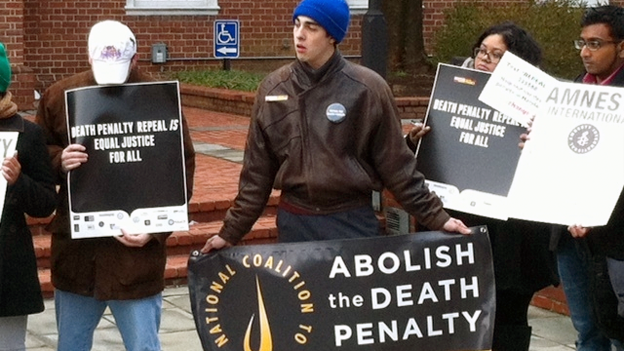 Demonstrators against the death penalty gathered outside the Maryland state house in Annapolis on Monday.