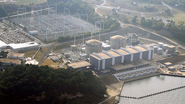 The winter storm prompted a shutdown at the Calvert Cliffs Nuclear Power Plant.