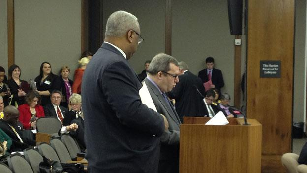 Virginia Sens. Adam Ebbin and Don McEachin make the case for the DREAM Act type bill in committee Thursday. The bill ultimately failed in the education committee, 8-7.