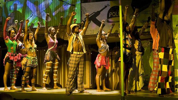A full cast of professional dancers and musicians provides lively support in Shakespeare Theatre Company's production of FELA!