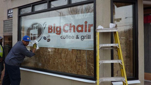 New windows are part of the renovation that's just wrapping up at Big Chair Café bar and grill.