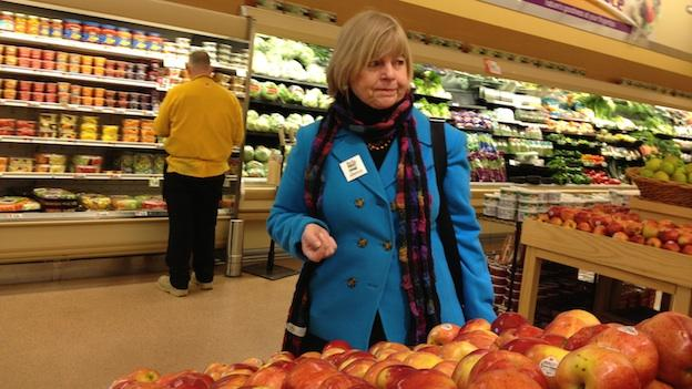 Montgomery County Councilmember Nancy Floreen shops for groceries on the first day of the SNAP (Supplemental Nutrition Assistance Program) the Silence Challenge.