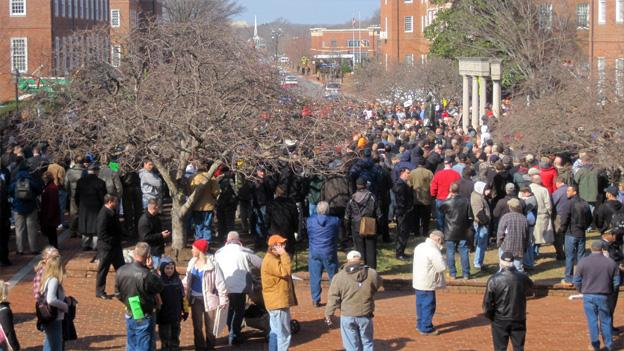 Gun rights supporters rallied in front of the Maryland state house in Annapolis on Wednesday.