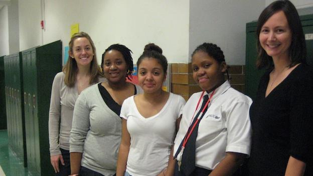 Higher Achievement staff and scholars are gearing up for this year's Literary Love Poems competition. (L to R: staff member Beth Thompson, staff member Jenell Akoula, scholars Natalia G. and Brelyn R., Executive Director Lynsey Wood Jeffries)