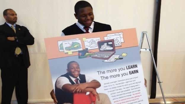 "The new ""The More You Learn, The More You Earn"" campaign is part of an effort to encourage kids to show up to class."