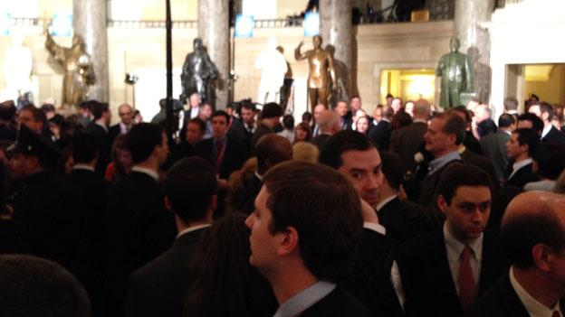 Lawmakers gathered en masse in Statuary Hall after the State of the Union address while reporters rushed to track down members of Congress for comments.