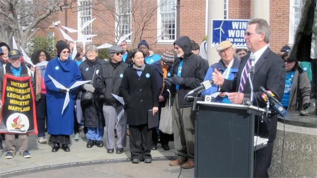 Supporters of offshore wind power voiced their opinions in Annapolis on Wednesday.