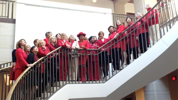 Female lawmakers pulled out the red pant suits Thursday for women's heart health.