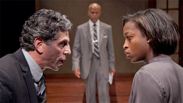 (from left to right) James Whalen, Michael Anthony Williams, and Crashonda Edwards play a legal team struggling with a difficult case in Race.