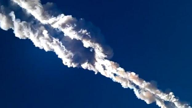 A view from one of the many videos of the meteor crash in Russia today.
