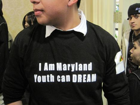 A Maryland DREAM Act supporter attends a hearing on the bill in Annapolis in 2011. The law will finally come to a statewide vote at the polls in November.