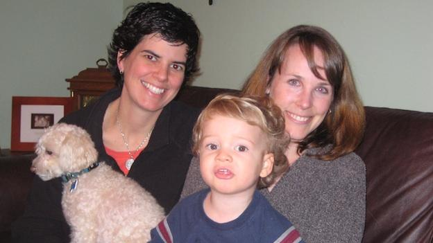 Michelle (L) and Jen (R) with 2-year-old son, Gavin (and poodle, Kinley). The women say they'll be first in line should Maryland green light same-sex marriage.