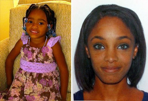 Amiyah Monet Dallas, left, was last seen in the custody of her aunt Olivia Dallas, right. Anyone with information is urged to contact police.