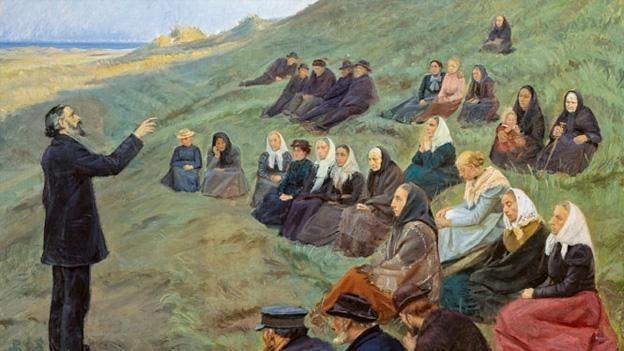 """A Field Sermon"" by Danish modern painter Anna Ancher is one of the works currently on display in the NMWA exhibit. The collection features 41 paintings and oil sketches by Ancher, and more than 20 by members of the artists' colony at Skagen."