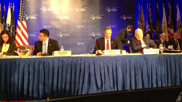 Maryland Gov. Martin O'Malley (center) at the National Governors Association winter meeting on Feb. 23, 2013.