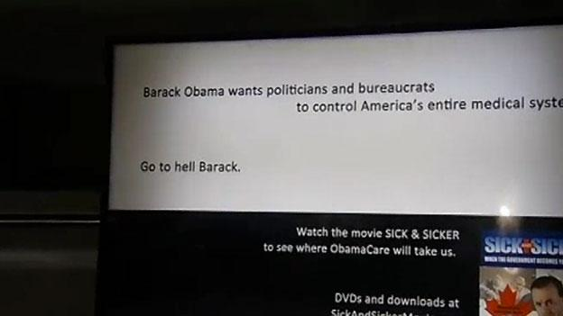 "The ad in question, which is advertising a film called ""Sick & Sicker"" about Obama's health care plan, includes the phrase, ""Go to Hell Barack."""