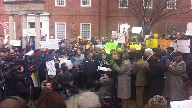 Crowds rally in support of Gov. Martin O'Malley's gun control legislation in Annapolis on Friday, March 1, 2013.