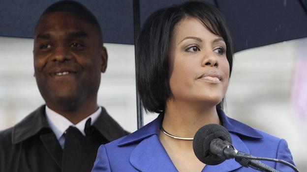 Baltimore Mayor Stephanie Rawlings-Blake speaks in front of her husband, Kent Blake, at her inauguration ceremony in Baltimore, Tuesday, Dec. 6, 2011.