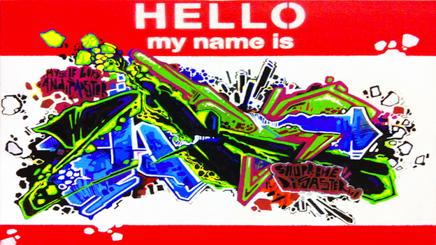 Each of the artists featured in 'HELLO my name is' was given a canvas with the familiar name tag sticker silk-screened onto it. They then put their personal touches on the image, as artist HKS 181 did in this example.