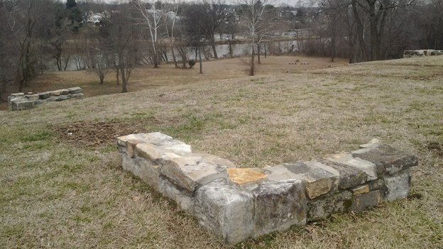 Stones mark the corners of George Washington's boyhood home, discovered by George Washington Foundation archaeologists in 2008. The Rappahannock River flows in the distance.