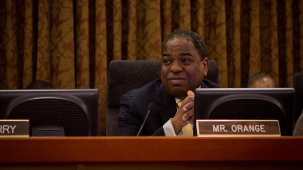 D.C. Council member Vincent Orange, shown here at the dais in the D.C. Council hearing room, has beaten his toughest primary challenger in the primary for his at-large council seat.