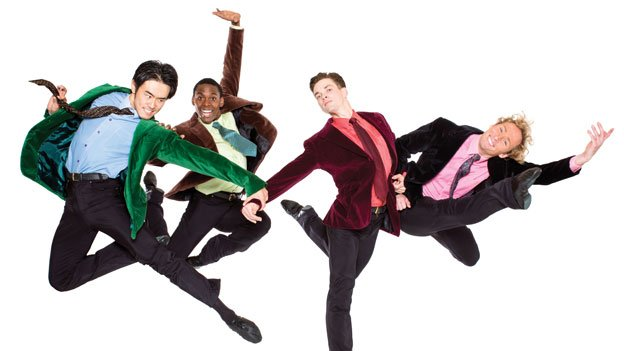 "The Washington Ballet company members Chong Sun, Andile Ndlovu, Jonathan Jordan and Jared Nelson strike a pose for ""British Invasion: The Beatles & The Rolling Stones."""