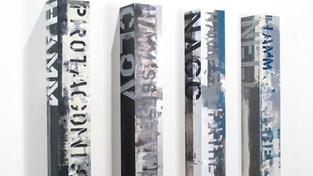"""Brian Dupont's """"Endgame"""" features text painted on chunks of metal. There will be an opening soiree for Appropriated Texts this Saturday at 6:30 p.m., with live music by Blackberry Blonde."""
