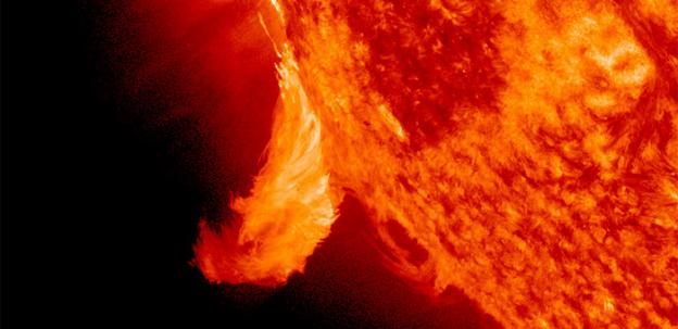 A solar flare, like the this one pictured in June of 2011, may disrupt earth-bound electronics Thursday.