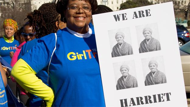 Stephanie Pressley of was one of dozens of women walking in Harriet Tubman's honor on the National Mall.